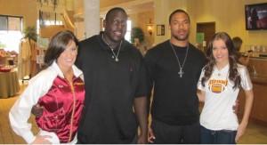 Redskins Cheerleader Michelle Brandon, Edwin Williams, Devin Thomas, and Redskins Cheerleader Prospect Ashley Norman.