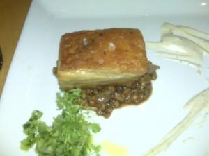 Crispy Pork Confit with Onion Barley and Garlic Yogurt