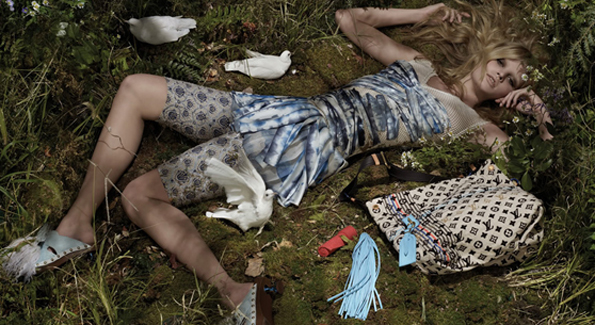Louis Vuitton ad featuring super model Lara Stone