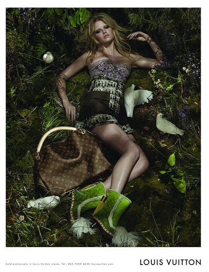 Lara Stone (replacing Madona) shot by Steven Meisel, Louis Vuitton spring 2010 ad campaign