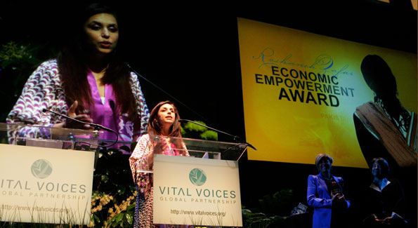 Roshaneh Zafar speaks at the 2010 Vital Voices Global Leadership Awards at the Kennedy Center (Photo by Sharon Farmer)