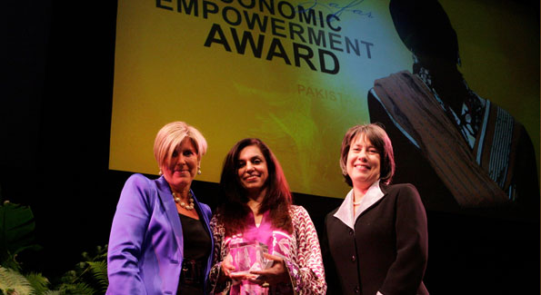 Roshaneh Zafar with guests at 2010 Vital Voices Global Leadership Awards at the Kennedy Center. (Photo by Sharon Farmer)