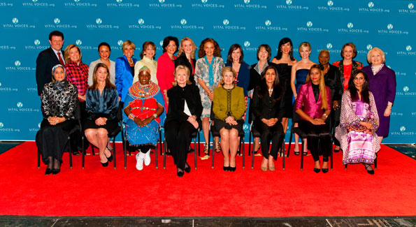 Recipients of the 2010 Vital Voices Global Leadership Awards pose with Secretary of State Hillary Clinton and Senator Kay Bailey Hutchison during the ceremony at the Kennedy Center. (Photo by Joseph Allen)