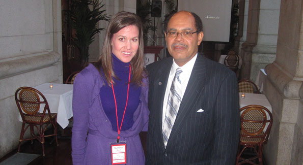 The First Tee Washington, DC chapter president Kathryn Rand with The First Tee CEO Joe Louis Barrow, Jr. (Photo by Jane Hess Collins)