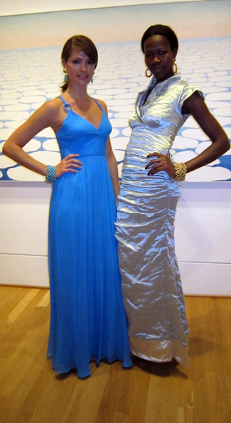 Models Anna Chamberlin and Jacqueline Akoko in creations by Aidan Mattox and Nicole Miller respectively. (Photo by Sarah Khan)