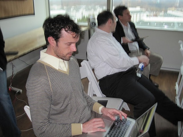 Steven Mandzik aka @robotchampion on Twitter blogs live at Palantir Night Live