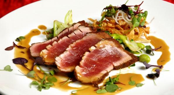 A signature seared tuna dish at Buddha-Bar DC.