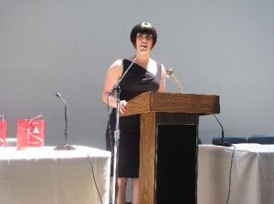 Christine Brooks-Cropper teared up while introducing Fern Mallis. Photo courtesy of Janice Wallace.