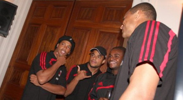 A.C. Milan Players at Reception (photo credit: D.C. United)