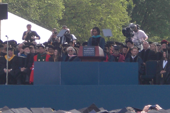 Michelle Obama talks to GW graduates, faculty, family, and friends