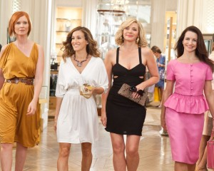 The girls from SATC2.  Carrie in a Halston Heritage dress, Charlotte in Dior. Credit: Warner Bros.