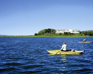 Kayaking near Libertador Puno on Lake Titicaca, the highest navagable lake in the world.