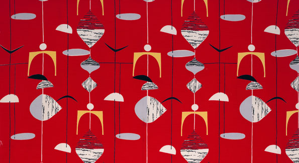 Untitled (Mobiles), (detail) ca. 1952. Marian Mahler. Manufactured by David Whitehead, Ltd. Jill A. Wiltse and H. Kirk Brown III Collection of British Textiles.