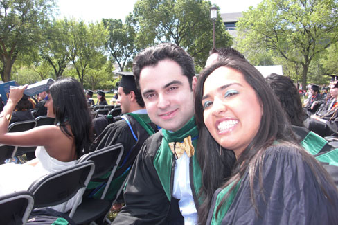 Medical School Graduates Alex Gauthier and Nisha Chadha at the ceremony