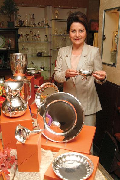 Sandra Jordan with her silverware collection.
