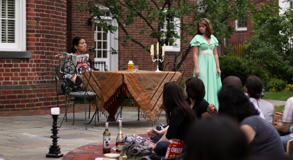 """Christna Sevilla as Tionette and Jessica Tribe as Angelique in the Picnic Theatre Company's outdoor production of Moliere's """"The Imaginary Invalid"""" at Dumbarton House in Georgetown, Washington DC, June 9th 2010. (Photo By Thisisbossi)"""