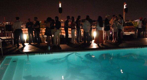 Nightime by the pool. Donovan House rooftop.