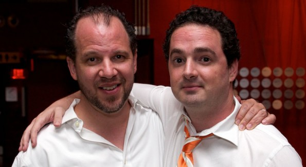 Aaron Posner and Jeremy Skidmore at the NRTC DAINTY Award Fundraiser. Photo by Ariana Hodes.