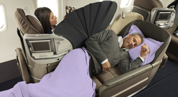 Premium seats extend to a fully reclining bed.