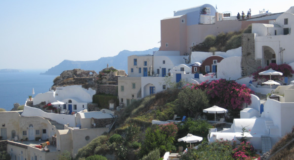 Views of Santorini from the Oia, a small beautiful village at the tip of the island