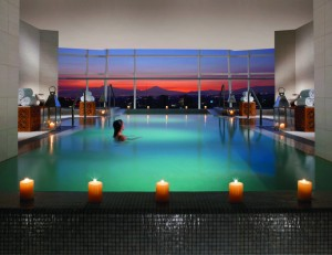 The swimming pool with panoramic view at the St. Regis Mexico City