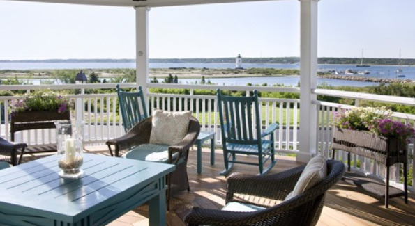 Spacious Seating and Scenic Views From the Patio of the Harbor View Hotel & Resort