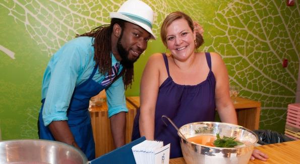 Frank Jones and Gina Chersevani savoring a fresh sweet green salad
