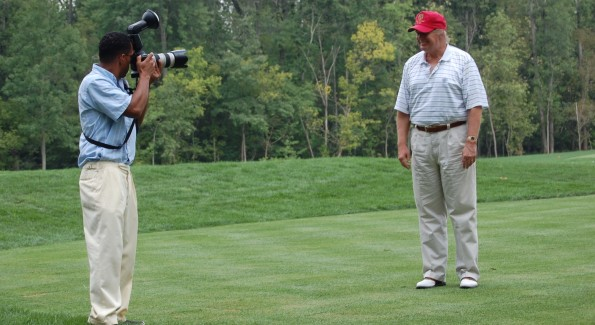 Trump on the links with WL Photographer Tony Powell. Photo by John Arundel/Washington Life