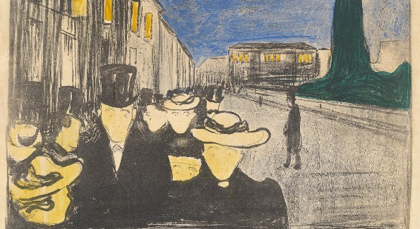 Cat. No. 8 / File Name: 3109-040.jpg Edvard Munch Evening on Karl Johan Street, 1895 lithograph in black with hand coloring on white thick wove paper Collection of Catherine Woodard and Nelson Blitz Jr. © Copyright Munch Museum/Munch Ellingsen Group/ARS, NY 2009