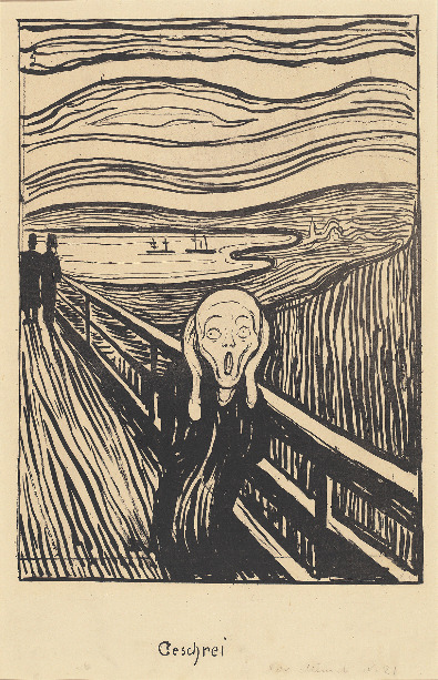 Cat. No. 9 / File Name: 3109-061.jpg Edvard Munch The Scream, 1895 lithograph in black on thick tan card National Gallery of Art, Washington, Rosenwald Collection, 1943 © Copyright Munch Museum/Munch Ellingsen Group/ARS, NY 2009