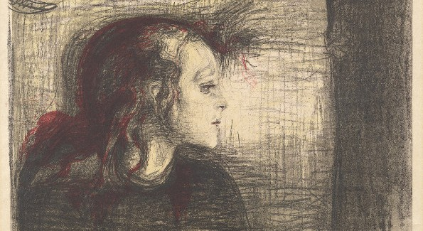 Cat. No. 32 / File Name: 3109-031.jpg Edvard Munch The Sick Child I, 1896/1897 color transfer lithograph in black, red, gray, and yellow on medium-weight golden Japan paper The Epstein Family Collection © Copyright Munch Museum/Munch Ellingsen Group/ARS, NY 2009