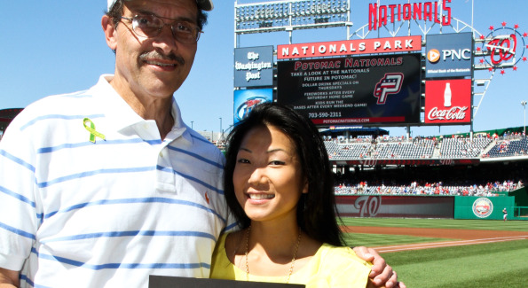 D.C. Council Chairman Vince Gray and Becky Lee. Photo by Alfredo Flores. Becky's Fund Domestic Violence Awareness Day at Nationals Park