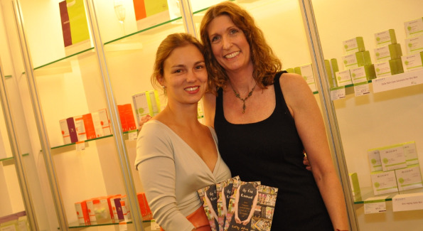 Ada Polla, CEO of Alchimie Forever, with author Cathy Alter. Photo by Daniel Swartz.