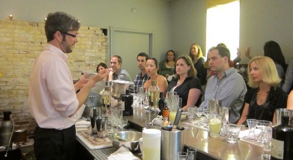 Hendrick's Brand Ambassador Jim Ryan shows attendees the basics of bartending.