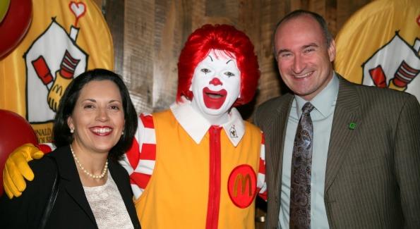 Dennis and Nina Prescott strike a pose with Ronald McDonald. Photo Courtesy of Ronald McDonald House.