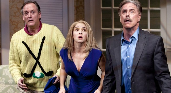 Andrew Long, Holly Twyford and Jeff McCarthy in Ken Ludwig's A Fox on the Fairway. Photo by Scott Suchman.