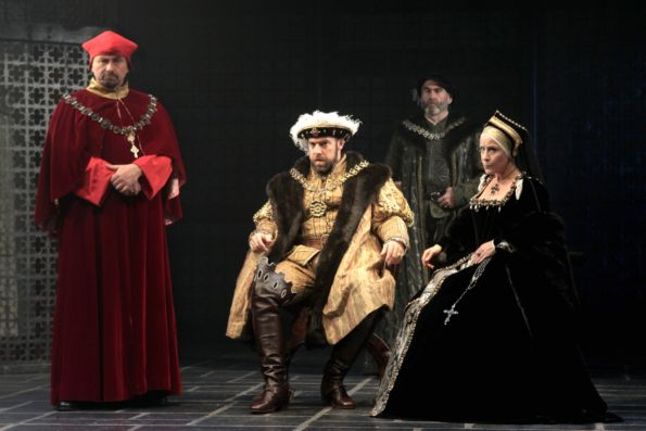 Anthony Cochrane, Ian Merrill Peakes, Lawrence Redmond and Naomi Jacobson in Shakespeare's Henry VIII, on stage at Folger Theatre through November 21, 2010.