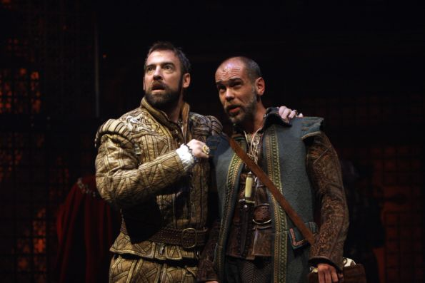 Ian Merrill Peakes as King Henry VIII and Louis Butelli as his fool, Will Sommers, in Shakespeare's Henry VIII, on stage at Folger Theatre through November 21, 2010. Photo by Carol Pratt.
