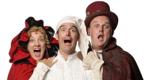 """The cast of """"A Broadway Christmas Carol"""" at MetroStage. Featuring:Donna Migliaccio, Peter Boyer, and Matthew A. Anderson. Photo by Colin Hovde."""