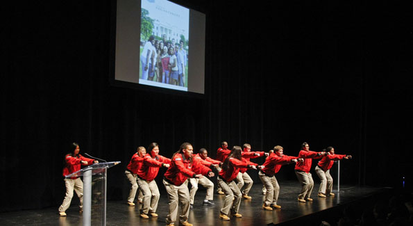 City Year Washington DC volunteers got the audience on their feet. (Photo courtesy of Leigh Vogel)