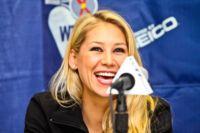 Anna Kournikova serves a beautiful smile for WTT Smash Hits.