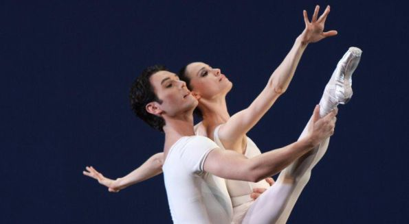 Natalia Magnicaballi and Michael Cook in Movements for Piano and Orchestra. Photo by Carol Prat.