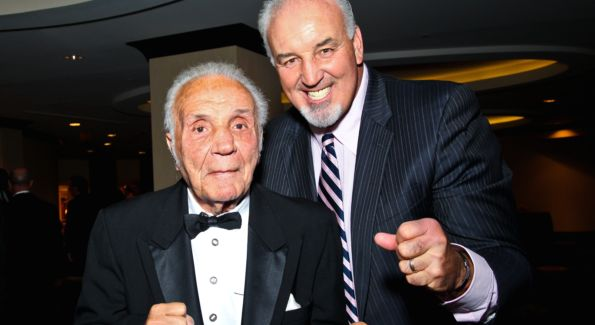 "Boxer Jake ""The Raging Bull"" LaMotta with Boxer Gerry Cooney at Fight Night. Image courtesy of Tony Powell."
