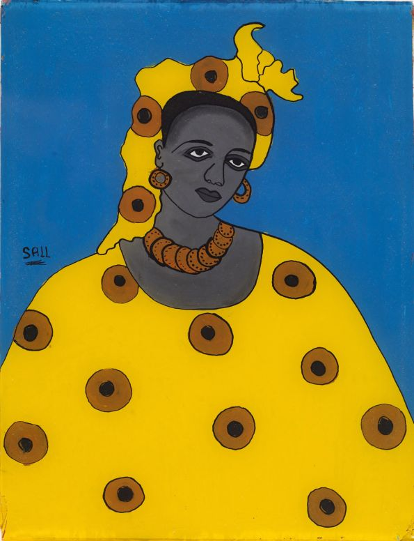 """Portrait of a Woman"" by Sall. Glass and paint media. Photo courtesy of Franko Khoury, National Museum of African Art, Smithsonian Institution."