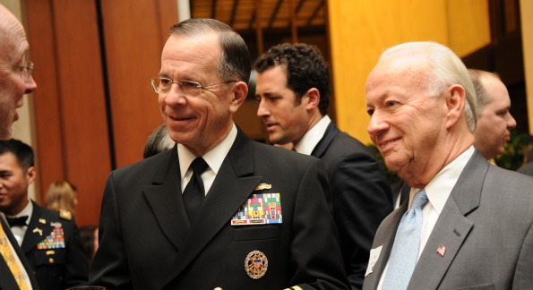 Admiral Mike Mullen & Bob Forrester at the Salute for those who Serve. Photo Courtesy of Kimball Stroud.