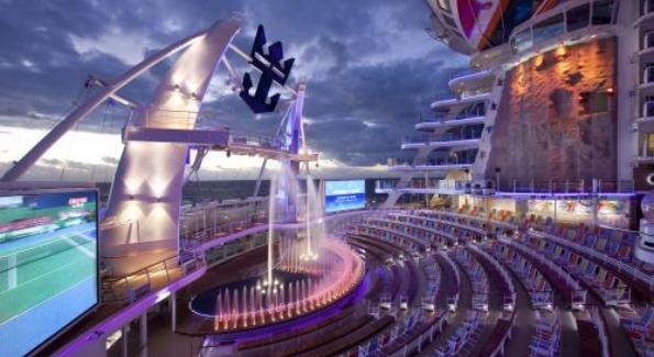 Allure of the Seas' AquaTheater located in the ships Boradwalk neighborhood. Image courtesy of Royal Caribbean.