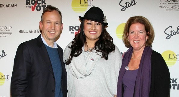 """Delaware Governor Jack Markell and wife Carla Markell and Lani Hay (C) attend the Rock The Vote Hosted By Lani Hay Honoring """"Hell And Back Again"""" at Jean Louis on January 22, 2011 in Park City, Utah. Photo by Jerritt Clark/WireImage."""