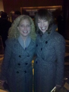 Roll Call's Emily Heil and Rep. Debbie Wasserman-Schultz (D-FL) in matching jackets at the Washington Press Club Foundations' Dinner.