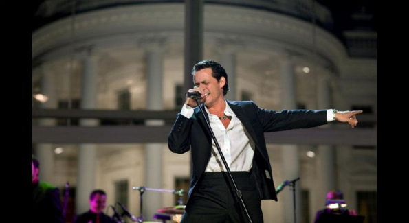 """Singer Marc Anthony performs at the """"In Performance at the White House: Fiesta Latina,"""" a concert celebrating Hispanic musical heritage held on the South Lawn, Oct. 13, 2009. (Official White House Photo by Pete Souza)"""