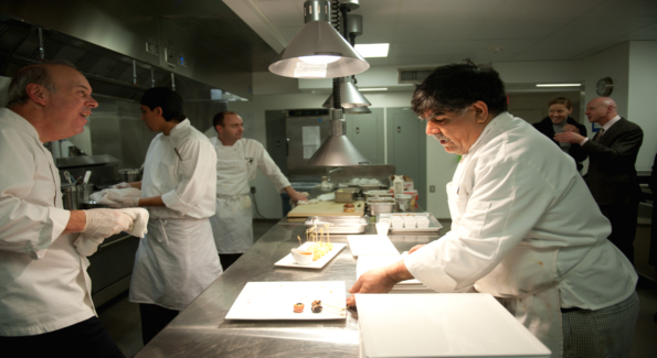 Preparing desserts in the state-of-the-art kitchen.